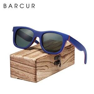 Image 1 - BARCUR סקייטבורד עץ משקפי שמש משקפיים מקוטב לגברים/WomenWood משקפי שמש סקייטבורד אמיתי משקפי שמש עם תיבת משלוח