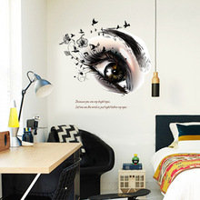 Beautiful Eyes Wall Stickers Black Flowers Eyelash Birds Wallpaper