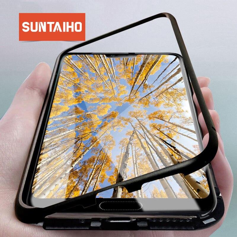 Suntaiho Adsorbimento Magnetico di Caso di Vibrazione per Huawei caso di P20 nova3i Magnete Vetro Temperato posteriore Della Cassa Del Telefono per Huawei P20 Pro caso