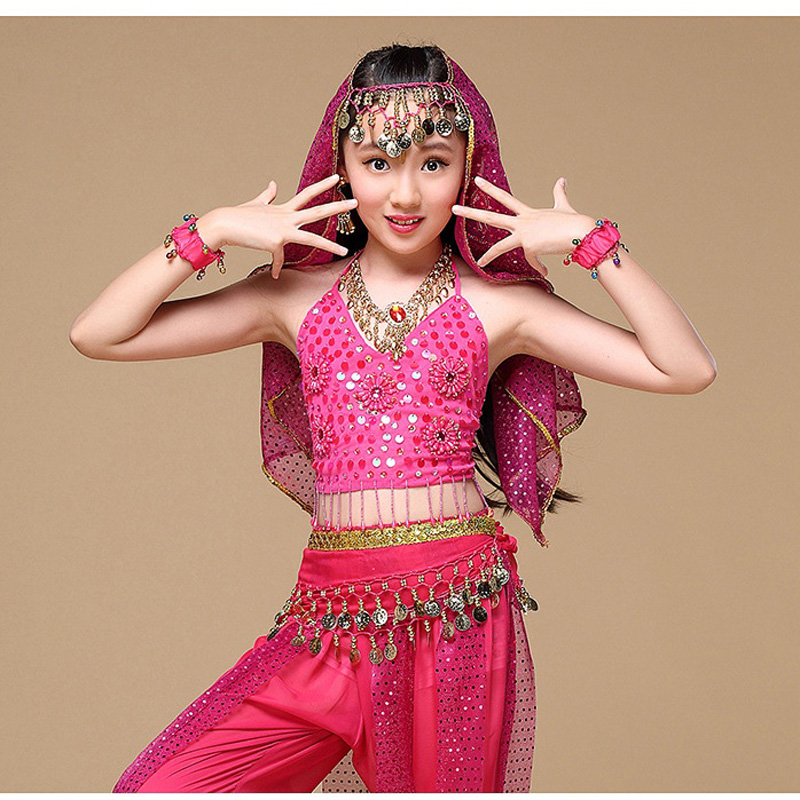 2020 <font><b>Indian</b></font> <font><b>Sari</b></font> Children <font><b>Indian</b></font> Dance 5-piece Belly Dance Costume Set (Top+Belt+<font><b>Skirt</b></font>+Belt+Veil) Kids Bollywood Dance 4 colors image