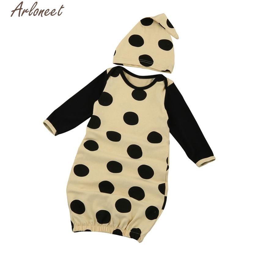 ARLONEET 2018 New Fashion Baby Boy Girl Clothes Newborn Infant Kids Baby Girl Long Sleeve Pajamas Gown+Hat Outfits Clothes Set #