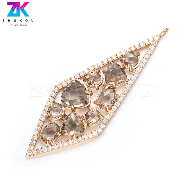 ZHUKOU 20x56mm DIY handmade Diamond Earrings Pendant Bracelets&Necklace Jewelry Accessories Necklace charms Jewelry Making VD385