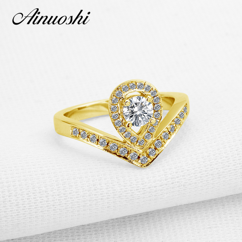 Considerate Ainuoshi 10k Yellow Gold Women Wedding Rings Round Cut Sona Simulated Diamond Pear Shape Band Female Ring Bijoux Trendy Design Fine Jewelry