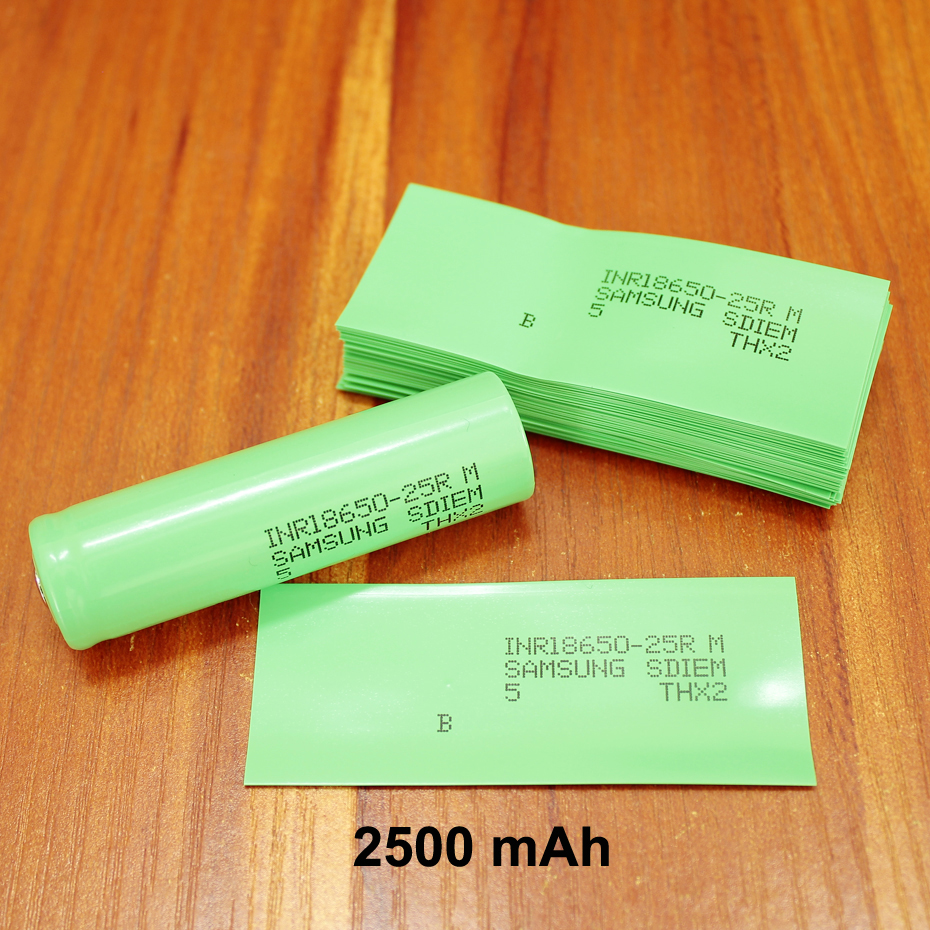 100pcs/lot Lithium Battery PVC Plastic Shrink Film 18650 Battery Package Special Insulated Heat Shrinkable Tube 2500MAH