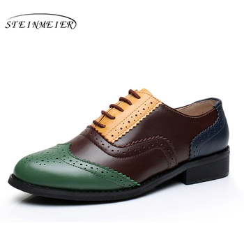 Genuine cow leather brogue casual designer vintage lady flats shoes handmade oxford shoes for women blue brown yellow spring