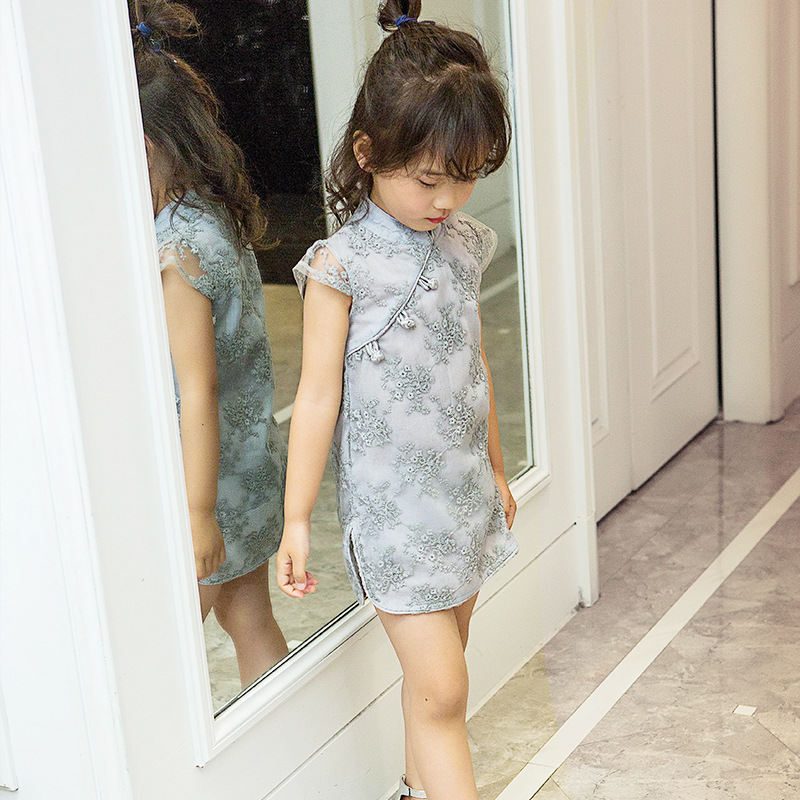 2017 Sommer Kinesisk stil Retro behagelig qipao Kjole sød Barn pige - Børnetøj - Foto 1
