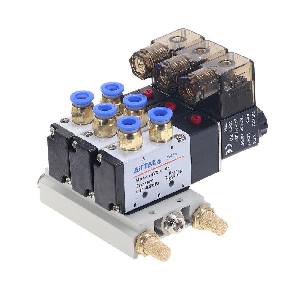 1 pièces 3Way 4V210-08 pneumatique DC12V DC24V AC110 AC220 Triple électrovanne w Base pousser dans les connecteurs silencieux 1/4