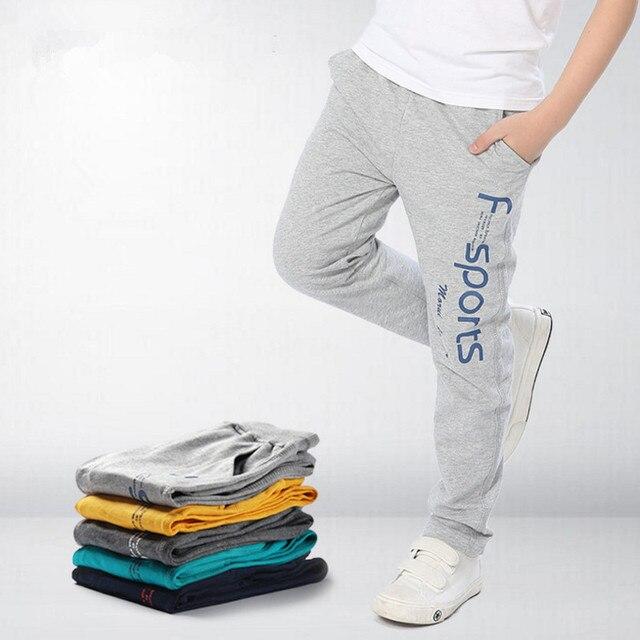 Spring Summer Boys Pants Teenage Cotton Pants Leisure Kids School Teens Elastic Waist Pants Color Gray / Lake Blue / Navy/Yellow