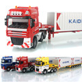 1:50 Diecast Metal Alloy Low Bed Transporter Model Car Heavy Telescopic Transport Vehicle Cars Toys For Children Boys Brinquedos