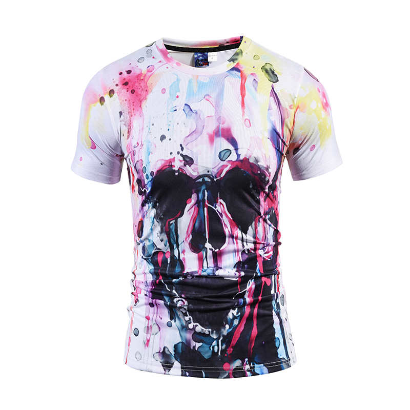 Mr.1991INC 2018 3D Men/Women t shirt Short Sleeve Summer t-shirts Colored skull Printing Hot Tops Pint Casual Tee Size S-3XL ...
