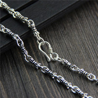 wholesale S925 Sterling Silver Vintage Silver Necklace Vajra men naked chain chain with personality