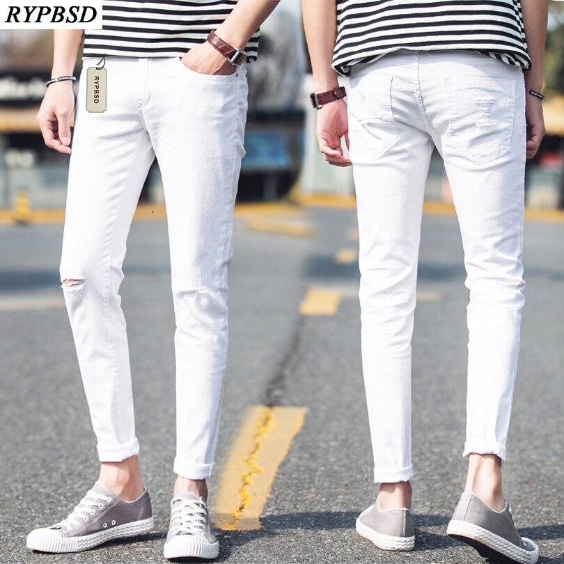 081c461dcbf Black and White Fashion Hole Ripped Jeans Men 2019 Spring Joggers Pants Men  Slim Fit Casual Pencil Pants Biker Street Trousers