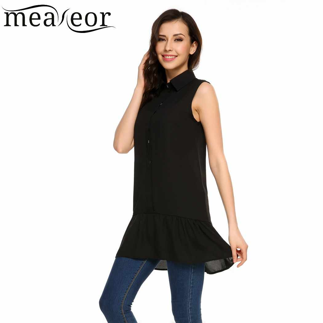 b487d9153010 ... Meaneor Women Sleeveless Chiffon Blouse Shirt Turn Down Collar Front  Button Pleated Hem Loose Long Blouses ...