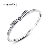 New Authentic 925 Sterling Silver Charm Sparkling Bow Bangles & Bracelets With Clear CZ Fit Pan DIY Beads Charms Jewelry Making