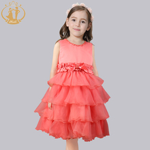 Nimble Cute party children's Dress O-neck Pearls mid-calf organza Layered Baby dress for birthday