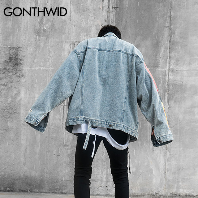 GONTHWID Van Gogh Painting Patchwork Embroidery Denim Jackets Hip Hop Casual Loose Jean Jackets Streetwear Fashion Outwear Coats 4