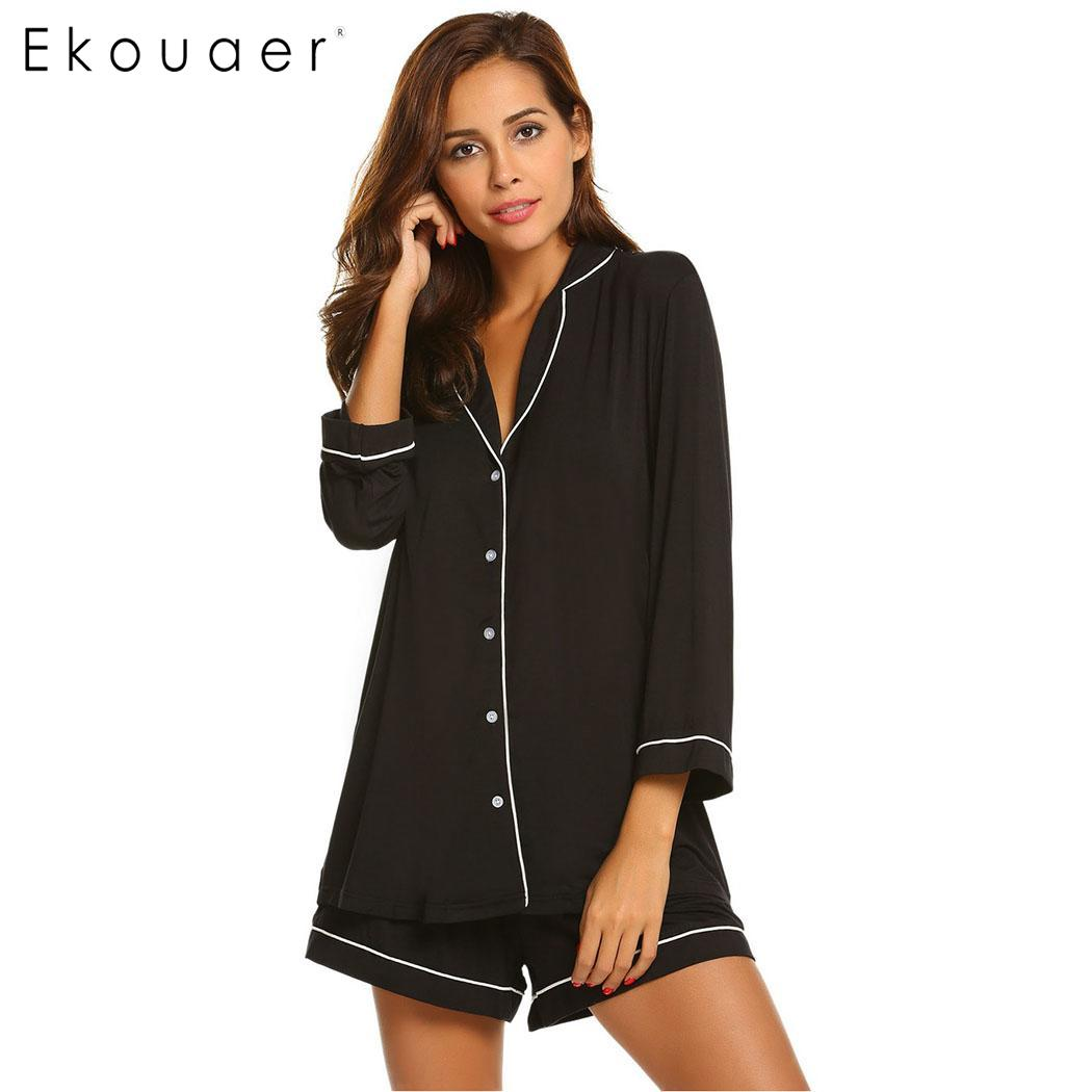 543968a38f Ekouaer Pajamas Set Women Nighties Casual Solid Long Sleeve Button Top  Shorts Sets Women Nightwear Suit