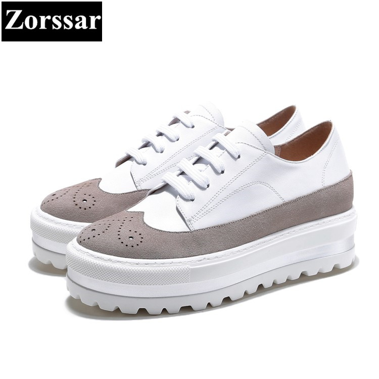 {Zorssar} 2017 New Women Shoes Casual Leather Shoes For Women Flat white Shoes Ladies Lacing platform shoes Zapatos Mujer женские кеды shoes women huarache zapatos mujer ws6 4 shoes women5354