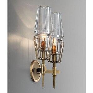 Image 2 - 구리 로프트 북유럽 스타일의 미국 산업 복고풍 예술 유리 간단한 성격 통로 침실 기계 머리 벽 램프 고풍의