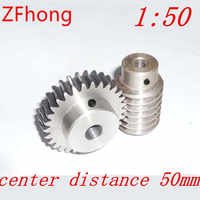 1.5M-50T reduction ratio:1:50 45Steel worm gear reducer transmission parts wore gear hole:10mm--D:79.5MM rod hole:10mm