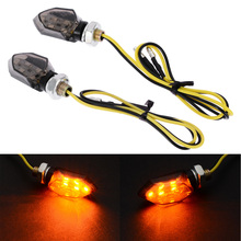1 Paar Mini Motorfiets 5LED 12V Richtingaanwijzer Amber Twee Draad Blinker Rook Lens Lamp Voor Honda voor Kawasaki