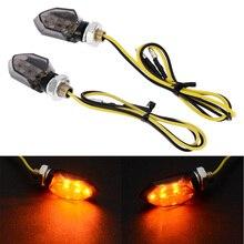 1 par de Mini motocicleta 5LED 12V luz indicadora de señal de giro ámbar dos cables parpadeantes lámpara de lente de humo para Honda para Kawasaki