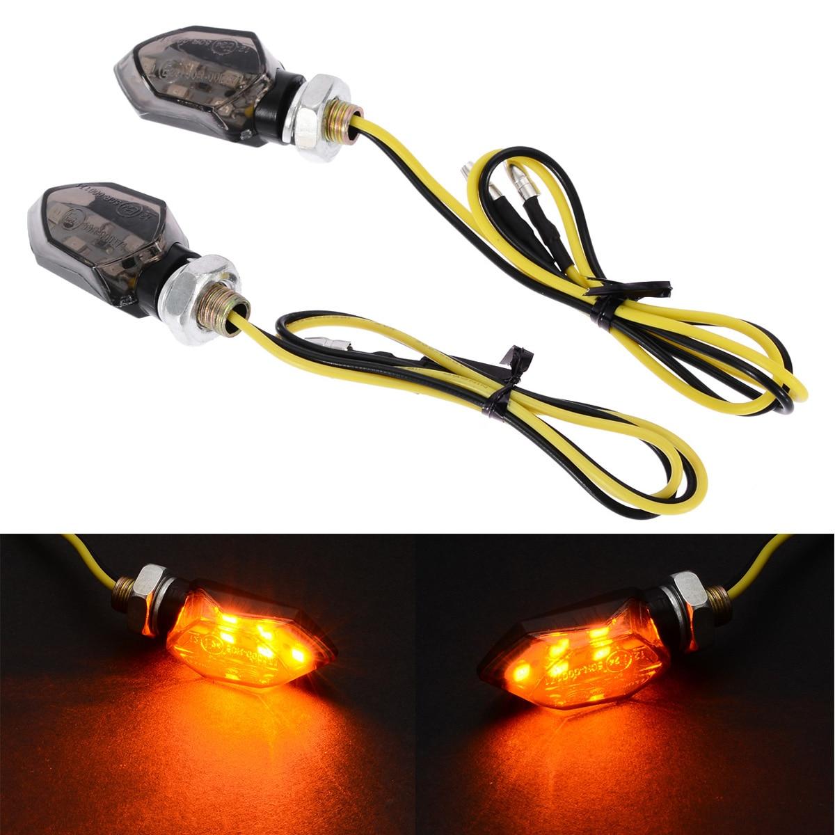 1Pair Mini Motorcycle 5LED 12V Turn Signal Indicator Light Amber Two Wire Blinker Smoke Lens Lamp For Honda Kawasaki