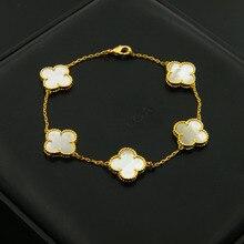 Moda de acero inoxidable cuatro hojas logo marca pulsera para las mujeres cinco flores blanco shell pulseras de cuentas de ónix negro