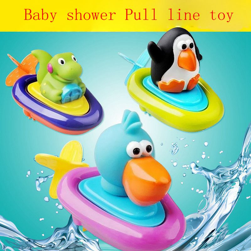 Top Quality Pull Line Boat Bath Toy Baby Backguy Play In Water Clockwork Baby Toy Swim Water Toys Children Wound-up Doll Gift