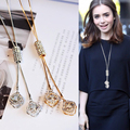 BYSPT Vintage Necklaces Crystal Jewelry Clover Leaf Leaves Necklace Pendant Long Sweater Twist Chain Necklace For Women