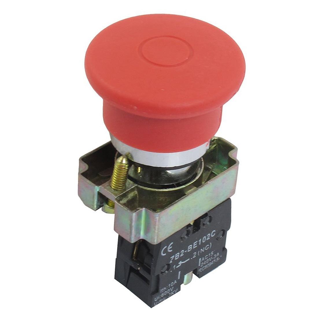 цены  KSOL 22mm NC Red Mushroom Emergency Stop Push Button Switch 600V 10A ZB2-BE102C
