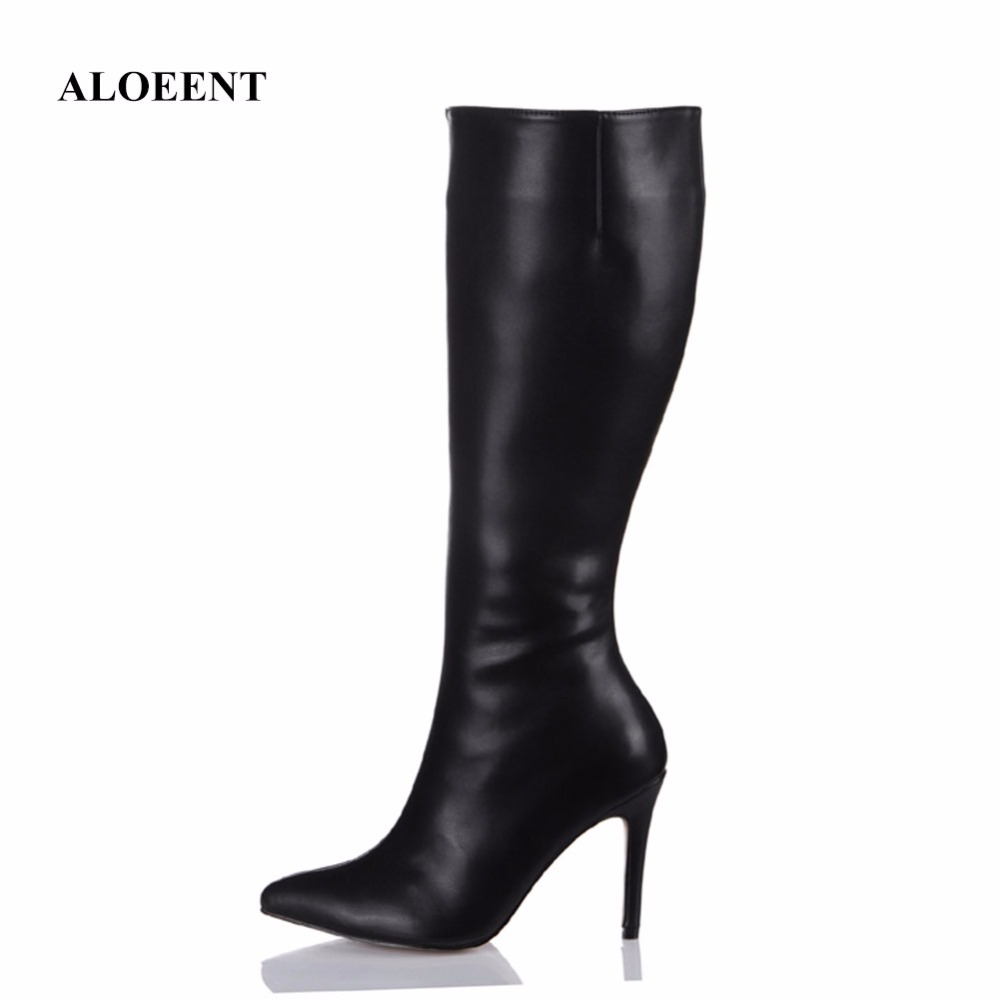 ALOEENT Thigh Knee High Boots For Women Shoes Snakeskin Pointed Toe Super Thin High Heels Long Boots Bottine Femme