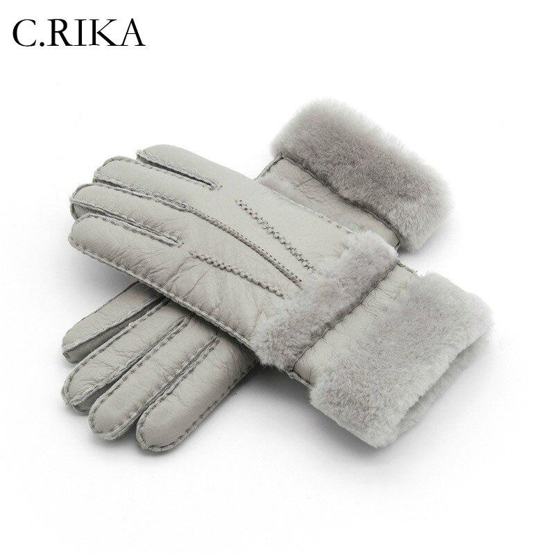 Responsible Natural Fox Fur Mittens Suede Leather Palm Genuine Fox Fur Gloves Winter Thicken Gloves Unisex Fluffy Fur Gloves Gloves Apparel Accessories