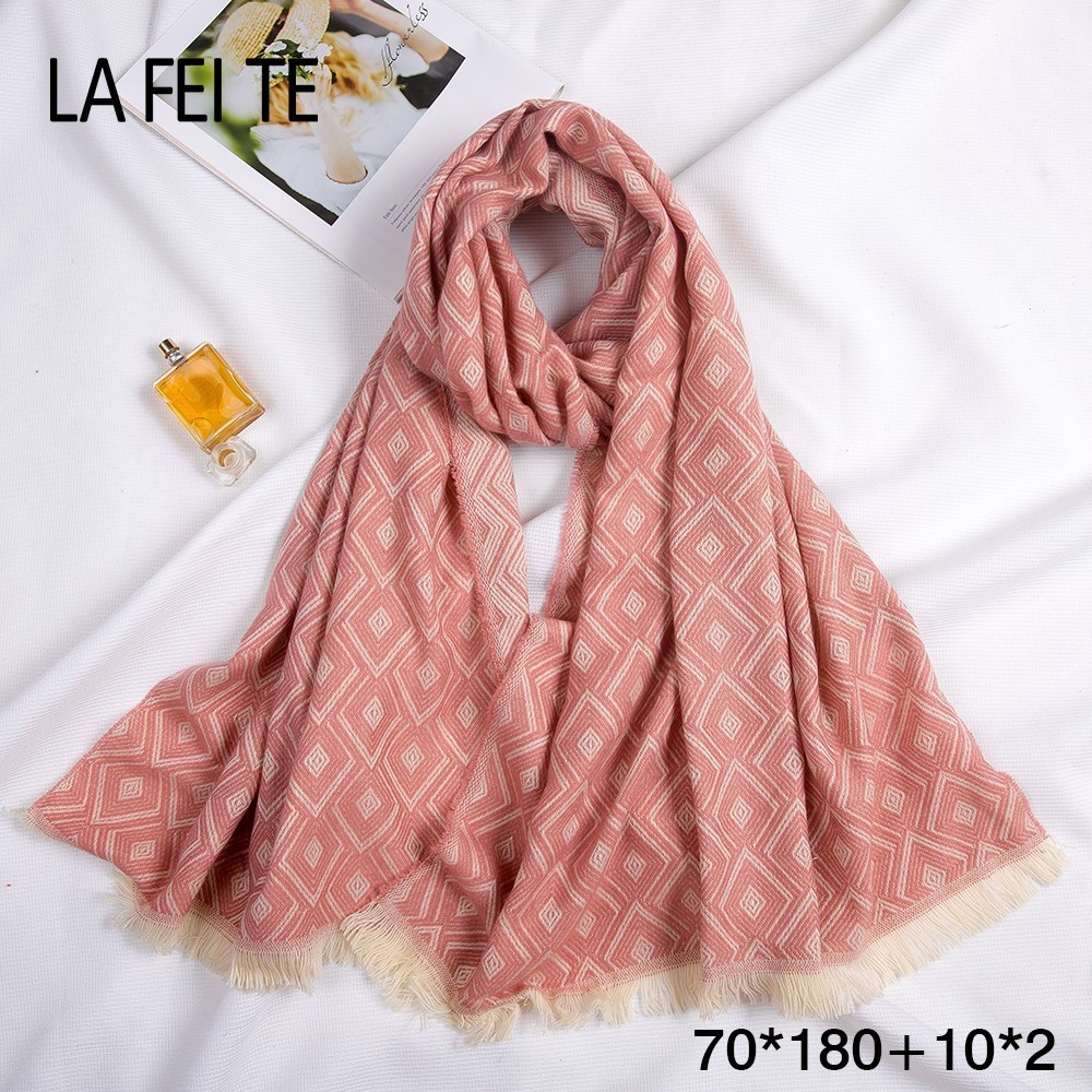 Luxury Ladies 100% Wool Scarf Women Viscose Hijab Stole Foulard Femme Long Pashmina Cashmere Shawl Cotton Women Winter Scarf