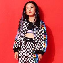 New street dance suit girl plaid jacket hip hop costume girls performance jazz