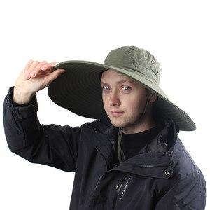 Image 2 - 16cm Long Wide Brim Sun Hat Breathable Safari Hat Men Women Boonie Hat Summer UV Protection Cap Hiking Fishing Bucket Hat Beach