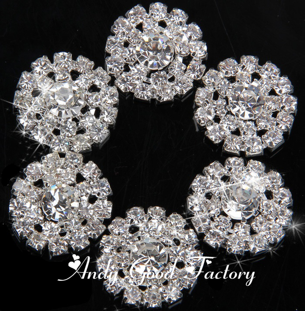 20mm Silver Strass Buttons Flatback Rhinestones Buttons Decorative Crystal  Button for Kids Hair Accessories 50 pcs lot PZ010 5f40d7c88fd8