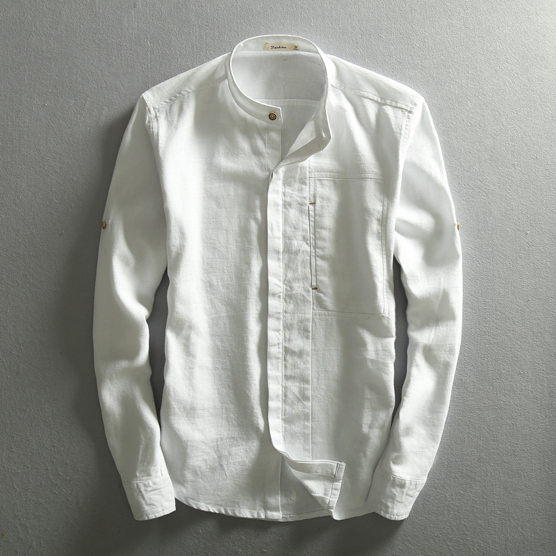 Men Solid Linen Shirt Chinese Traditional Mandarin Collar Cotton Dress Shirts Long Sleeve Linen Shirt Male Business Shirt TS-310