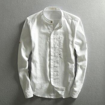Men Solid Linen Shirt Chinese Traditional Mandarin Collar Cotton Dress Shirts Long Sleeve Linen Shirt Male Business Shirt TS-310