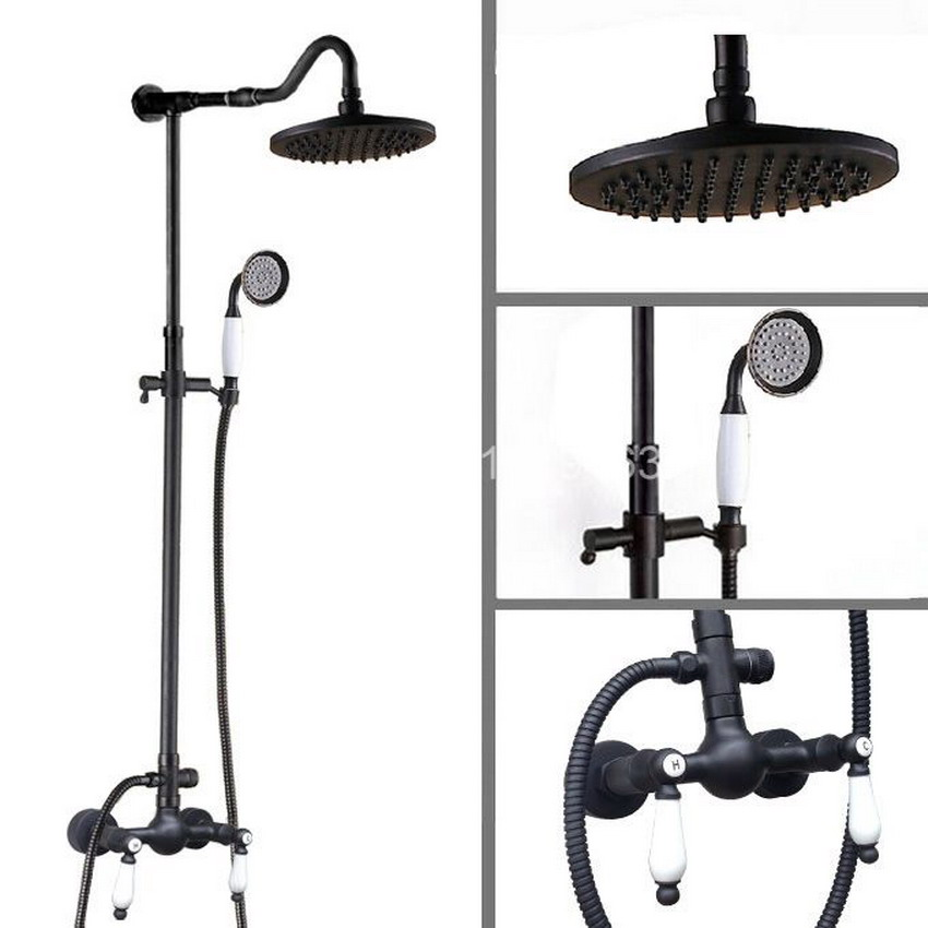 8 inch Round Rainfall Black Oil Rubbed Brass Rain Shower System with Shower Head Handshower Faucet Set ars776