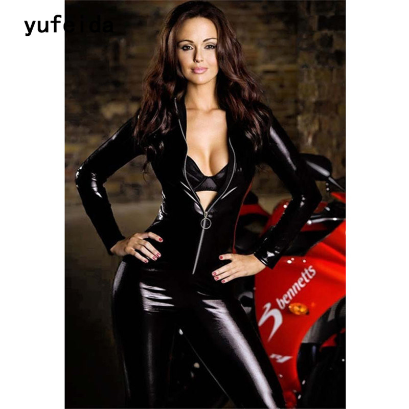 YUFEIDA Lady Sexy Zipper Faux Leather Catsuit Jumpsuit Womens Fetish Latex Leotard Costume Black Wet look Bodysuit Slim Clubwear