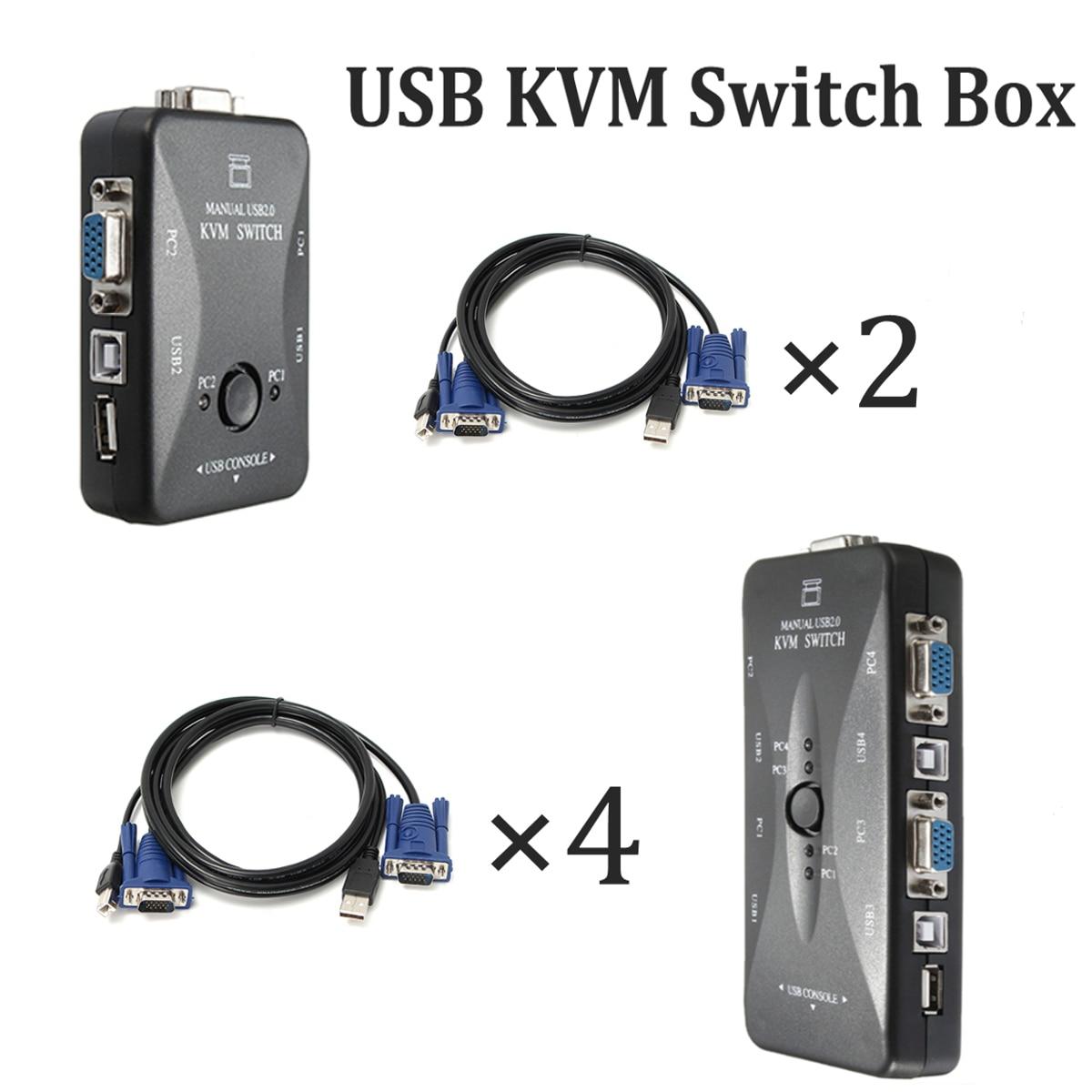 Kabel + Hub 4/2 Port USB VGA KVM Switch Box Und Kabel für Computer ...