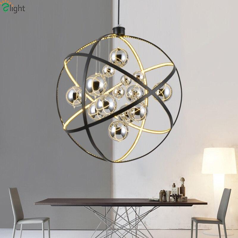Современный черный светодио дный металлический светодиодный подвесной светильник хромированный стеклянный шар гостиная светодио дный св...