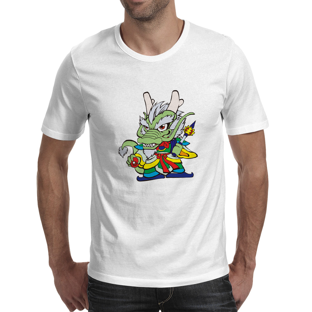 Green Chibi Dragon Warrior T-shirt Cool Novelty Funny T Shirt Hip Hop Fashion Anime Women Men Top