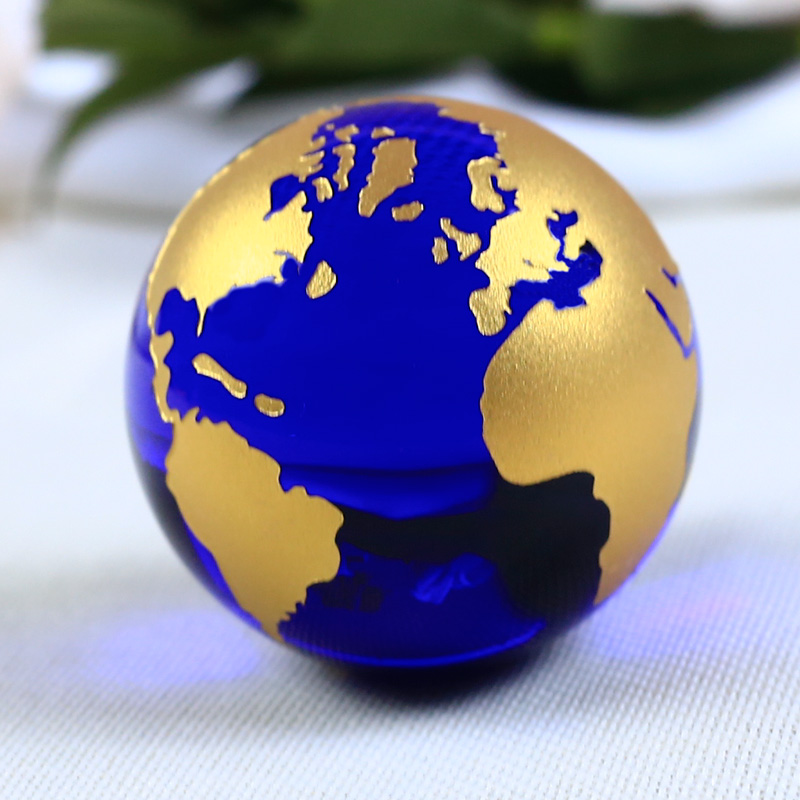 60mm Blue Colored Earth Crystal Model Ball Glass Globe With a Base - Home Decor - Photo 6