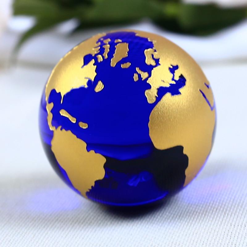 60mm Mavi Renkli Toprak Kristal Modeli Topu Cam Küre Ile bir Baz El - Ev Dekoru - Fotoğraf 6