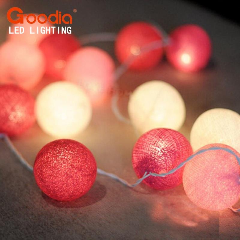 20 stk. Pink Cotton Ball Light Fairy Bryllup Fødselsdagsfest - Ferie belysning - Bilde 1