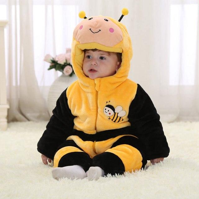 623ff8f11 Animal bebé mono polar abeja amarilla 100% algodón monos de invierno para  niños y niñas