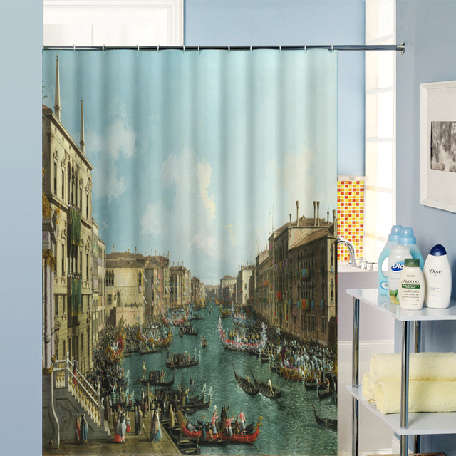 Village Vintage Waterproof Fabric Bathroom Curtain Shower Kitchen Drapes Custom Windows Curtains For Kid Bedroom