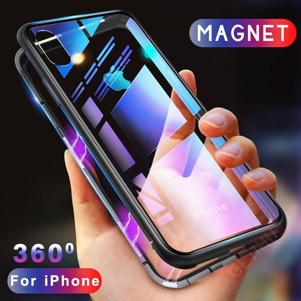 GETIHU Magnetische Adsorption Fall für iPhone XR XS MAX X 8 Plus 7 6 s + Metall Gehärtetem Glas Zurück abdeckung für iPhone 7 6 6 s Plus Fall